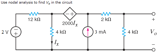 Use nodal analysis to find V0 in the circuit