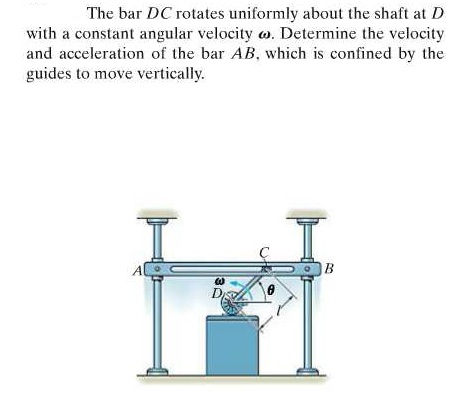 The bar DC rotates uniformly about the shaft at D