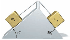 Image for An m1 = 8.9 kg block and an m2 = 10.1 kg block, connected by a rope that passes over a frictionless peg, slide