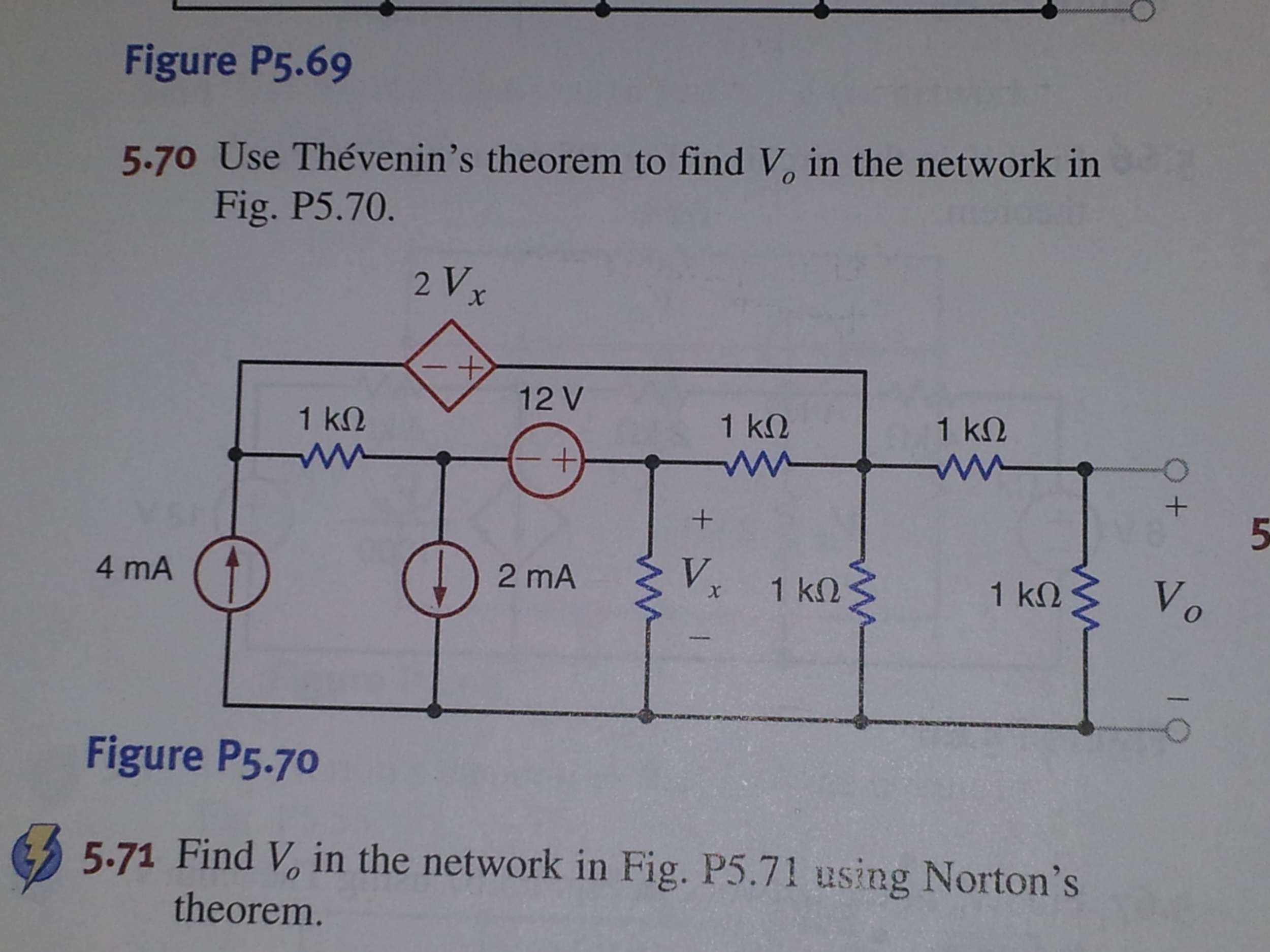 Figure P5.69 Use Thevenin's theorem to find V0 in