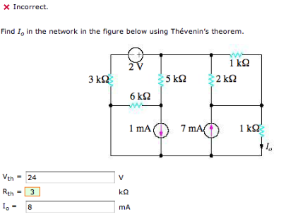 Find Io in the network in the figure below using T