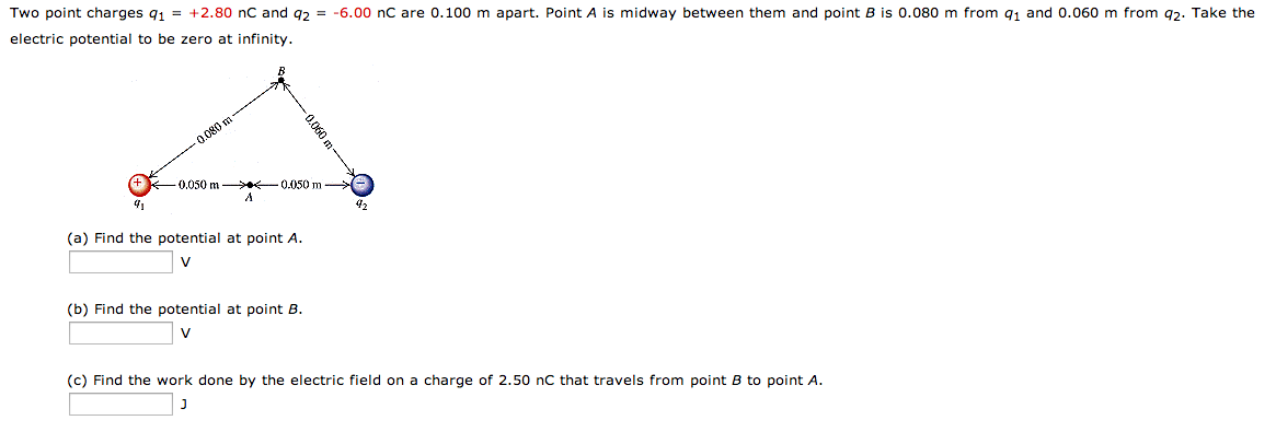 Two point charges q1 = +2.80 nC and = -6.00 nC are