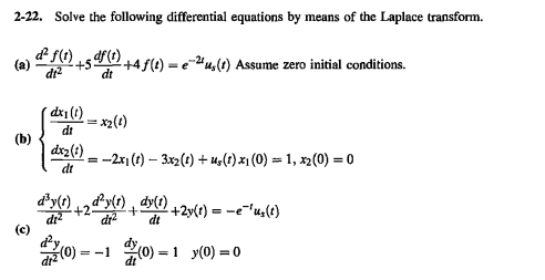 Solve the following differential equations by mean
