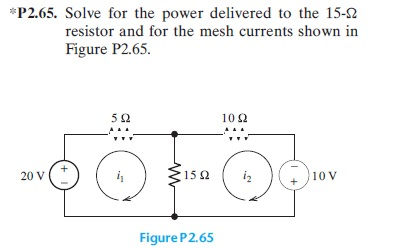 Solve for the power delivered to the 15-ohm resist
