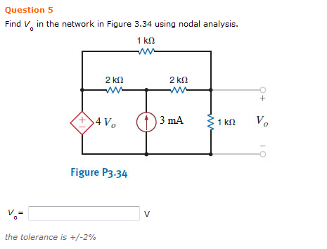 Find Vo in the network in Figure 3.34 using nodal
