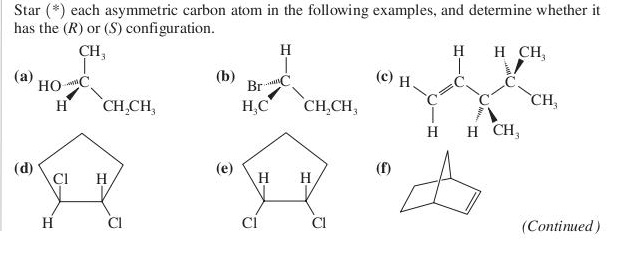 Star (*) each asymmetric carbon atom in the follow