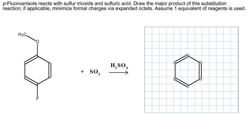 p-Fluoroanisole reacts with sulfur trioxide and su