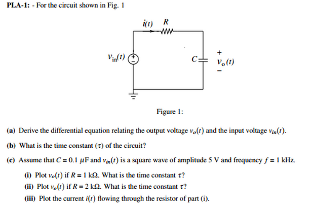 For the circuit shown in Fig. 1 Figure 1: Derive