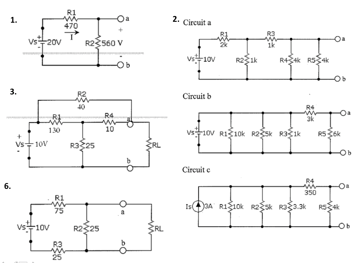 1. Determine V and I for the circuit shown below.