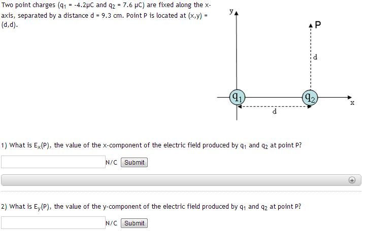 Two point charges (q1 = -4.2 micro C and q2 = 7.6