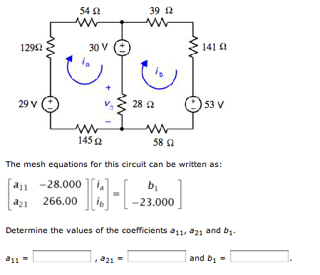 The mesh equations for this circuit can be written