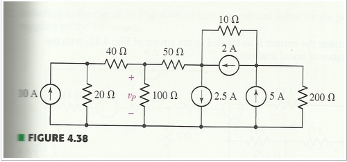 Use nodal analysis to find vp in the circuit shown