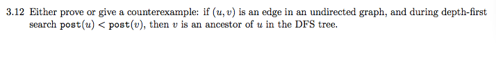Either prove or give a counter example: if (u; v)