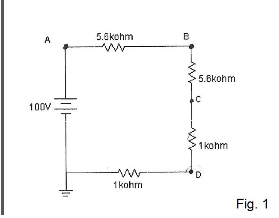 In Figure 1, find voltage at point B reference to