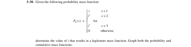 Given the following probability mass function: de