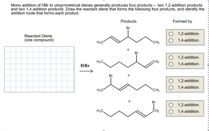 Mono addition of HBr to unsymmetrical dienes gener