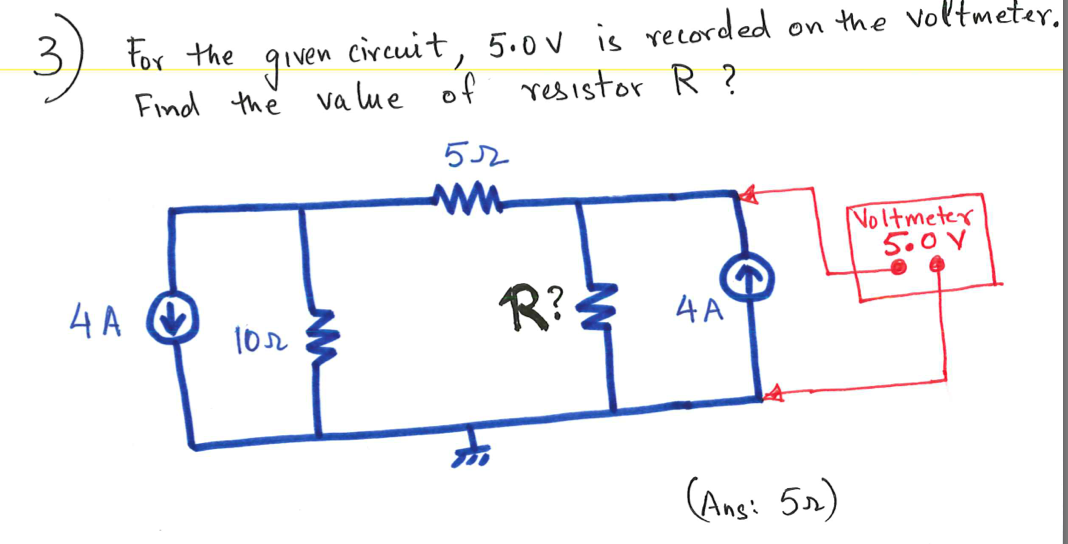 For the given circuit, 5.0 V is recorded on the vo