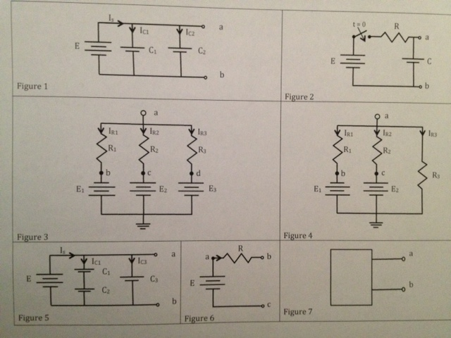 In figure 5, E = +2 V, C1=C2=C3=1 F and the capaci