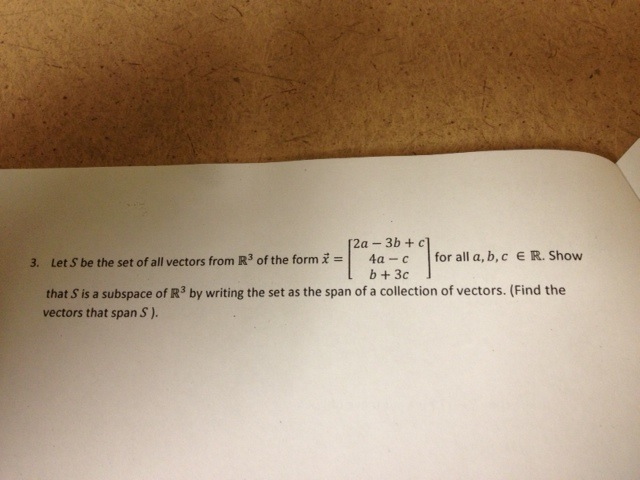Let S be the set of all vectors from R3 of the for
