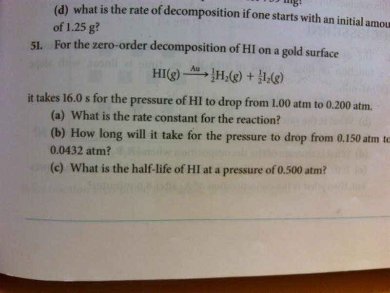 For the zero-order decomposition of HI on a gold s
