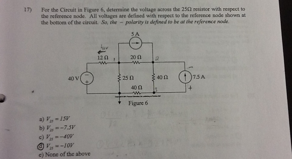 a.) Determine the voltage across the 25ohm resisto