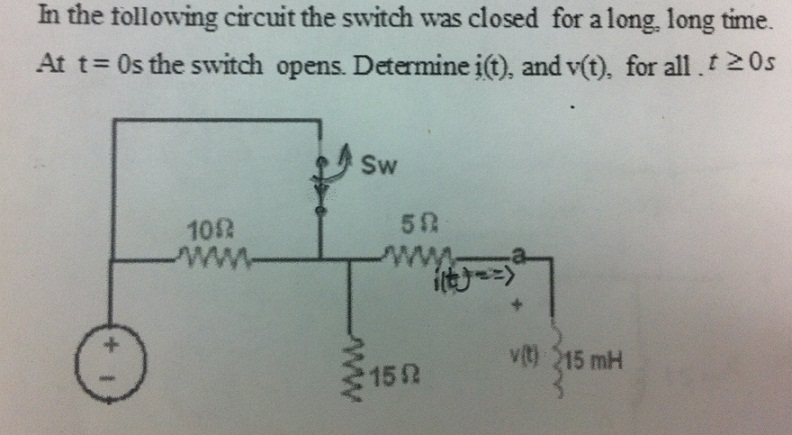 In the following circuit the switch was closed for