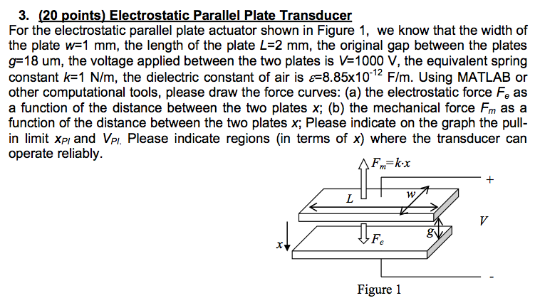 For the electrostatic parallel plate actuator show