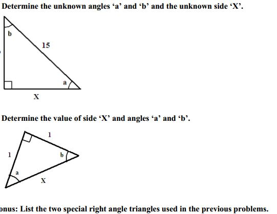 Determine the unknown angles 'a' and 'b' and the u