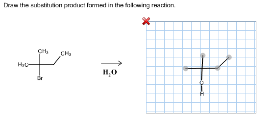 Draw the substitution product formed in the follow