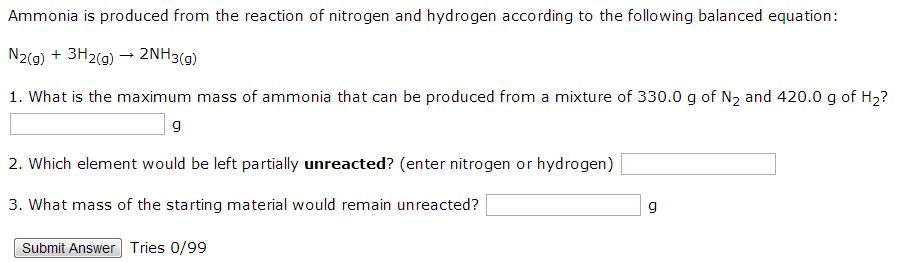 Ammonia is produced from the reaction of nitrogen