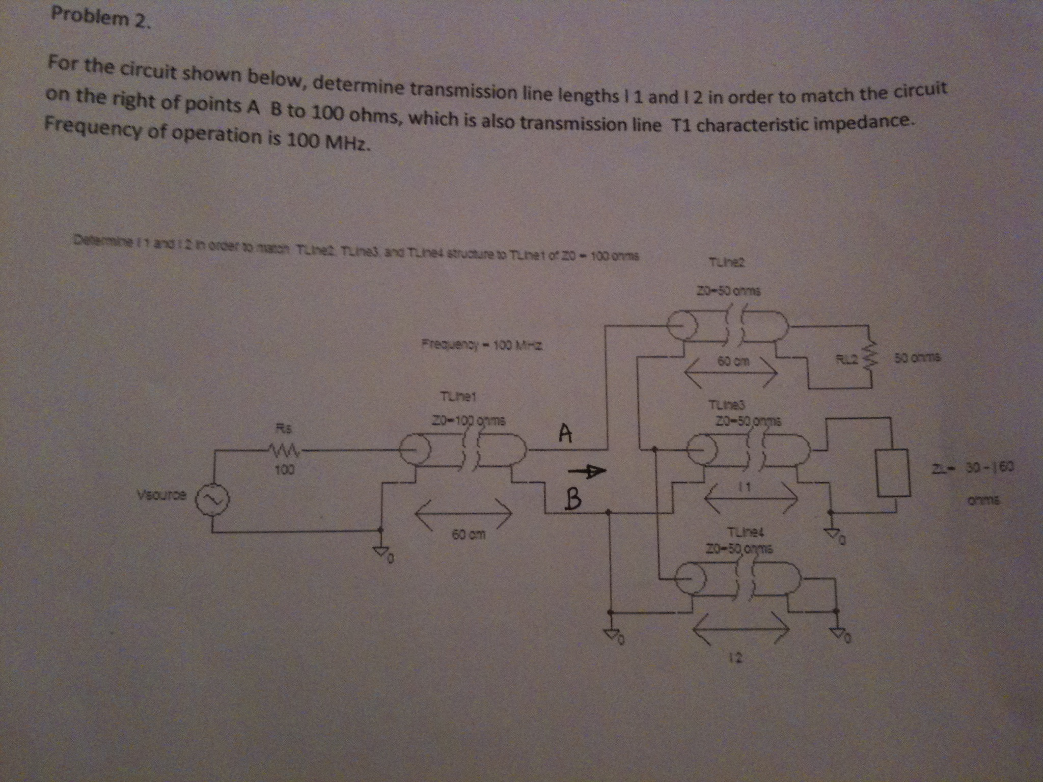For the circuit shown below, determine transmissio