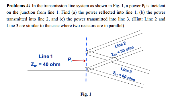 In the transmission-line system as shown in Fig. 1