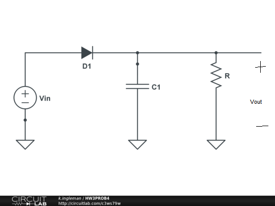 A half-wave rectifier circuit is shown with Vin(t)