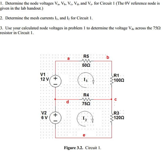 Determine the node voltages Va, Vb, Vc, Vd. and Vc
