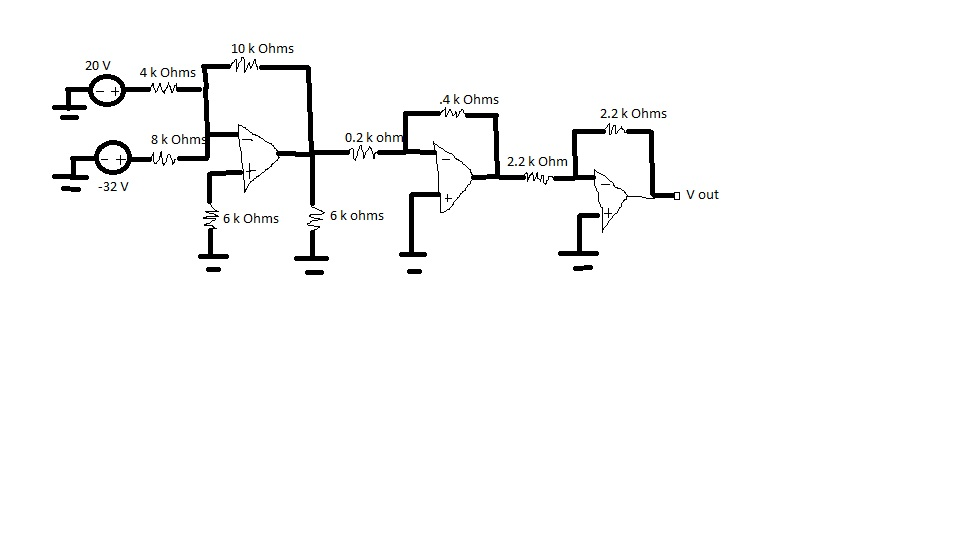 For the cascaded op amp, compute the output voltag