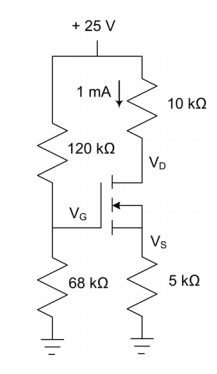 VGS(th)= +3 V and K = 9 mA for the MOSFET in the c
