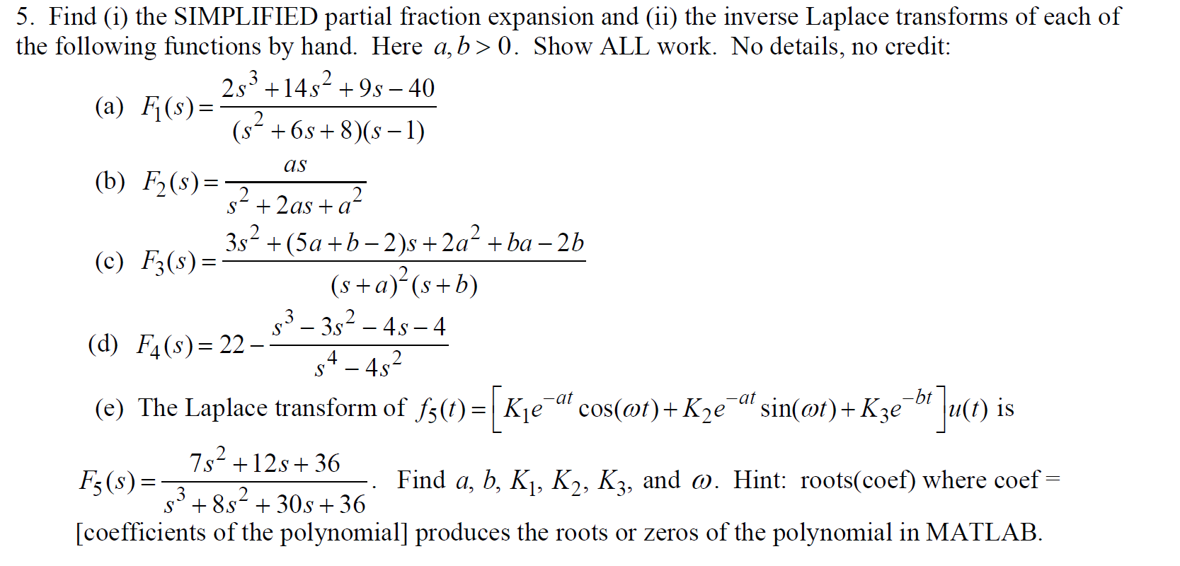 Find (i) the SIMPLIFIED partial fraction expansion