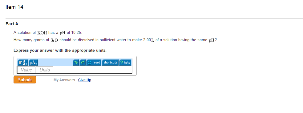 A solution of KOH has a pH of 10.25. How many gra