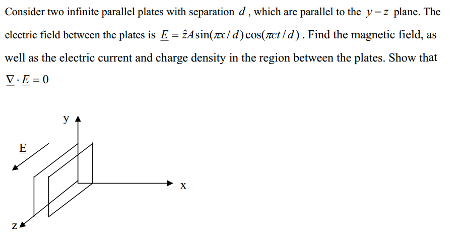 Consider two infinite parallel plates with separat