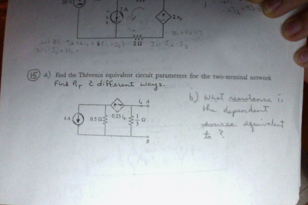 Find the Thevenin equivalent circuit parameters fo