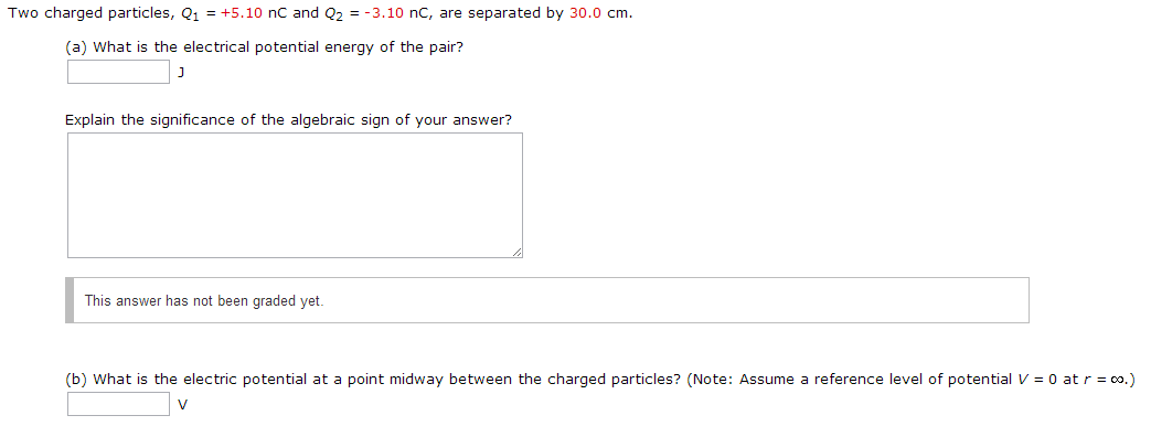 Two charged particles, Qi = +5.10 nC and Q2 = -3.1