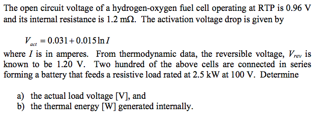 The open circuit voltage of a hydrogen-oxygen fuel