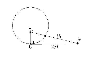 Given B is a point of tangency, find the radius of