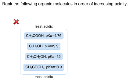 Rank the following organic molecules in order of i