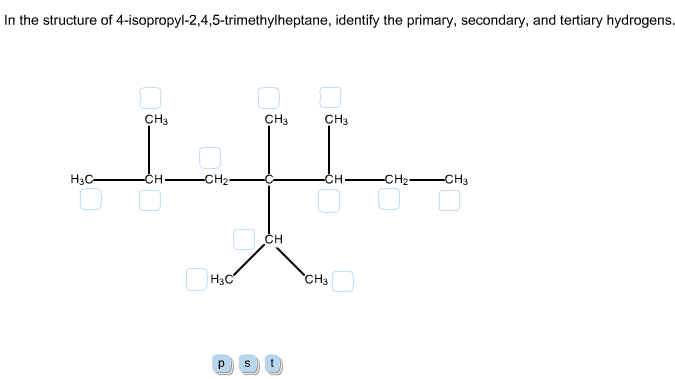 In the structure of 4-isopropyl-2,4,5-trimethylhep
