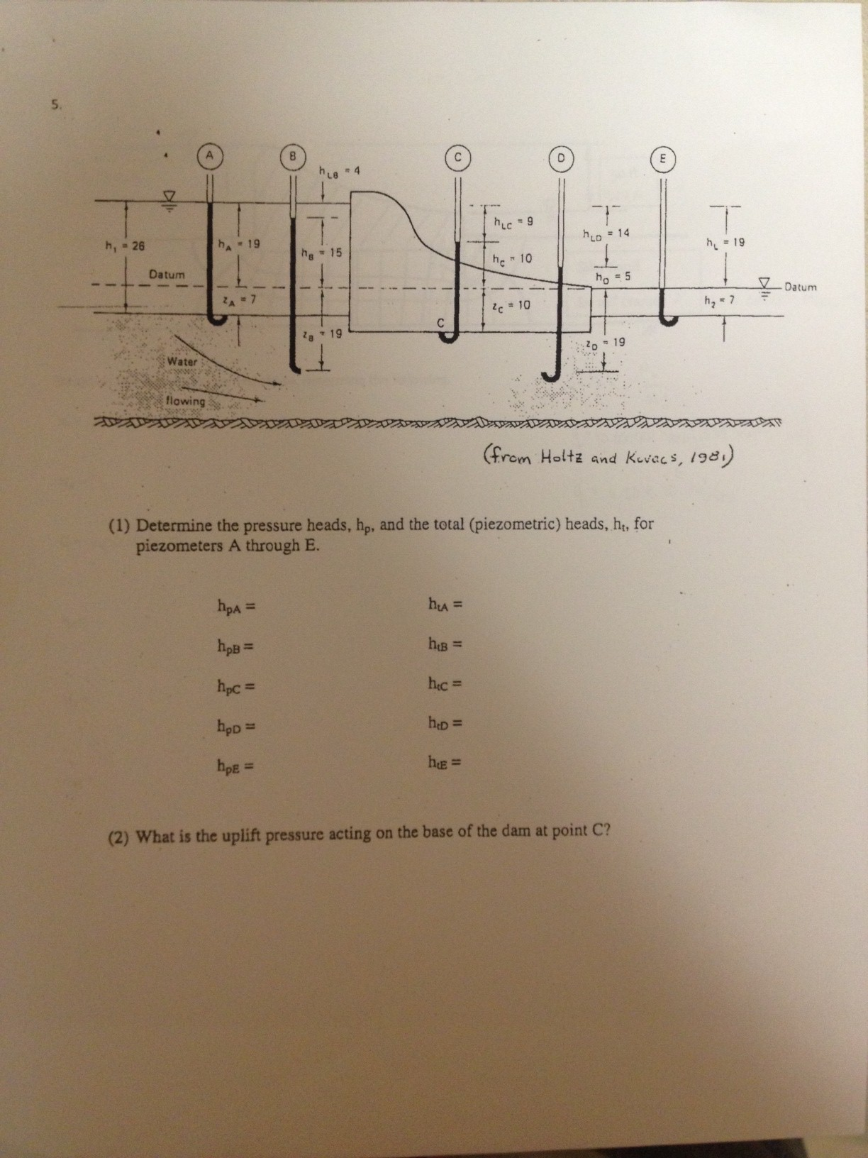 Determine the pressure heads, hp, and the total