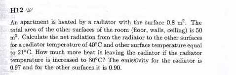 An apartment is heated by a radiator with the surf