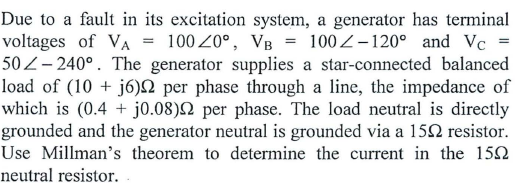 Due to a fault in its excitation system, a generat