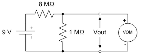 A student uses a voltage divider in hopes of conve