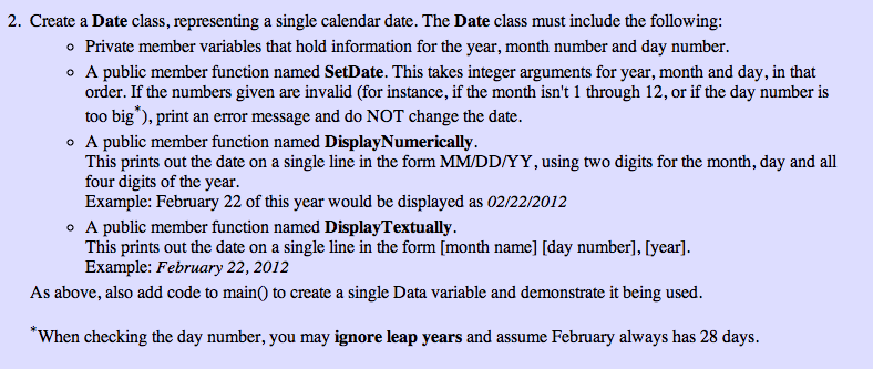Create a Date class, representing a single calenda